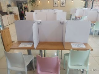 partition in table - social distancing in table - south korea