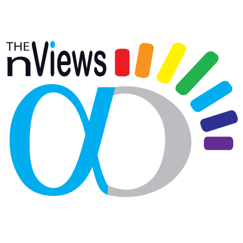 """The logo of """"ThenViews.com"""" visualizes the infinite views on different subjects using the symbol of infinity and multicolored rays."""
